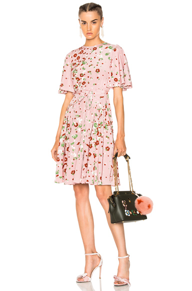 Valentino Daisy Print Crepe de Chine Mini Dress in Floral, Pink