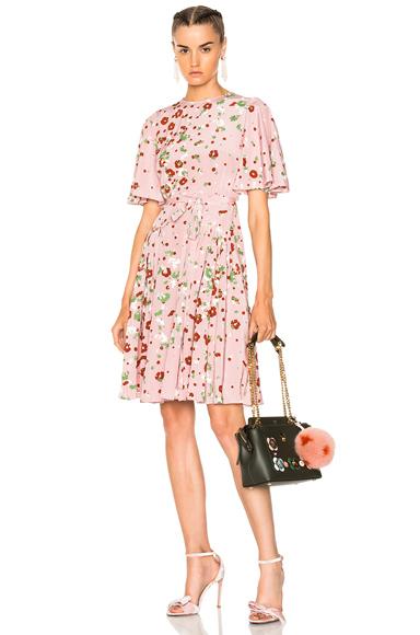 Valentino Daisy Print Crepe de Chine Mini Dress in Floral, Pink