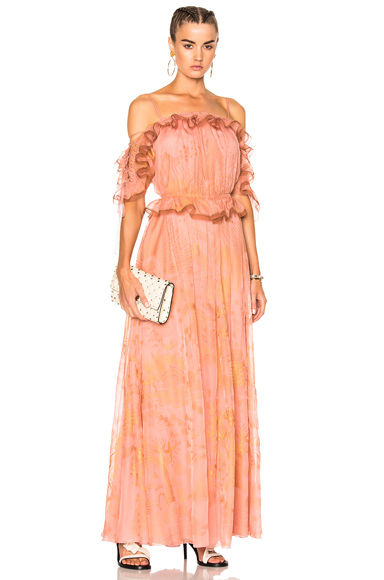 Valentino Off the Shoulder Ruffle Sleeve Gown in Abstract, Metallics, Pink