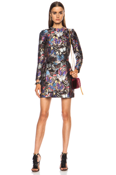 VALENTINO | Jacquard Butterfly Silk-Blend Dress with Low Pleat in Multi