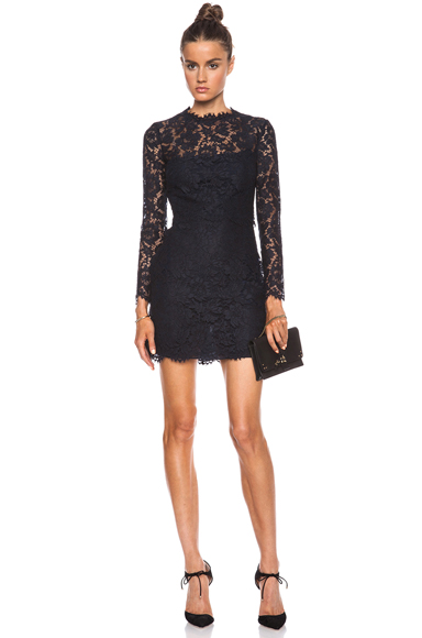 VALENTINO | Lace Knit Dress in Navy