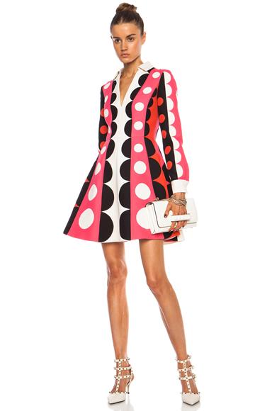 VALENTINO | Crepe Polka Dot Runway Wool-Blend Dress in Pink Multi