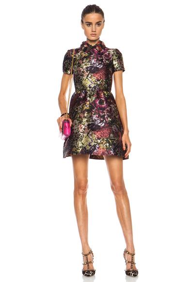 VALENTINO | Camu Flower Brocade Bambolina Dress in Multi