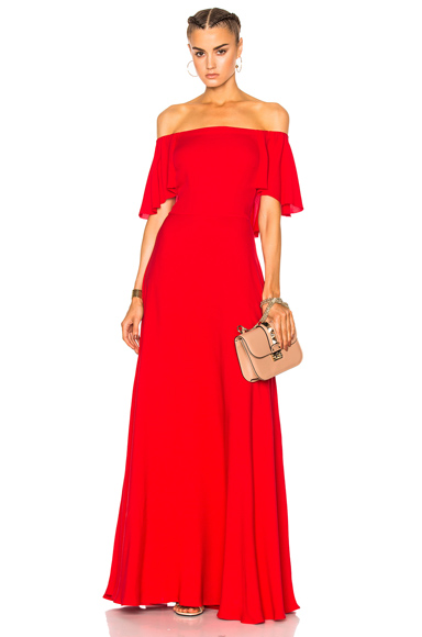Photo of Valentino Off Shoulder Gown in Red online womens dresses sales