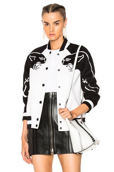 Valentino Printed Sleeve Bomber Jacket in Black, White