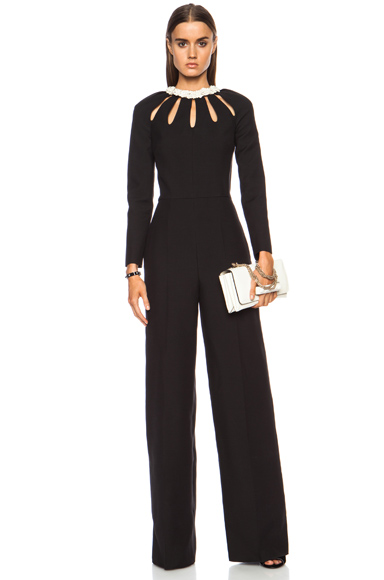 VALENTINO | Crepe Couture Cutout Wool-Blend Jumpsuit in Black
