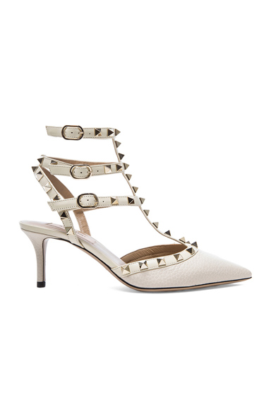 Valentino Rockstud Leather Slingbacks T65 in White