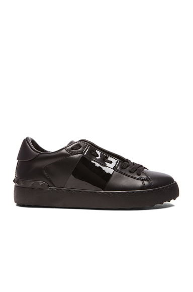 Valentino Open Low Top Leather Sneakers in Black