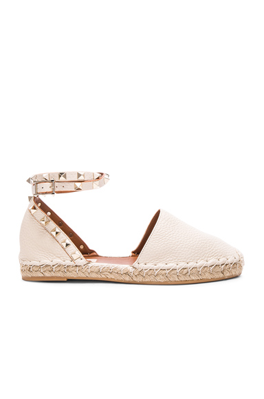 Valentino Rockstud Double Flat Leather Espadrilles in White