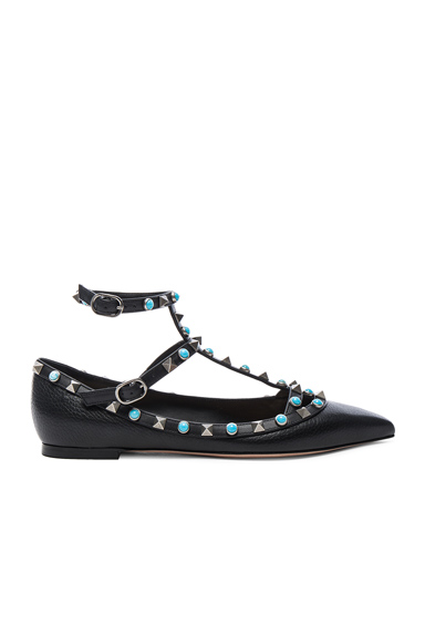 Valentino Rockstud Leather Rolling Cage Flats in Black