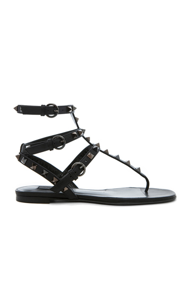 Valentino Rockstud Noir Gladiator Leather Sandals T05 in Black