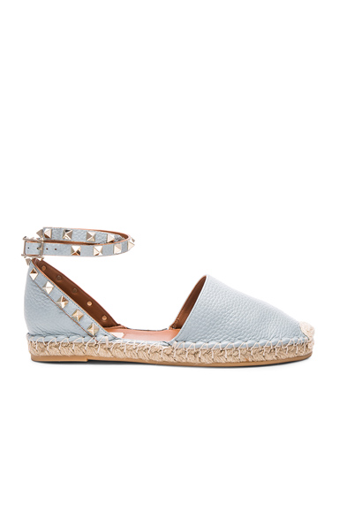 Valentino Rockstud Double Flat Leather Espadrilles in Blue