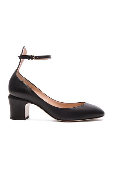 Valentino Leather Tan-Go Pumps in Black