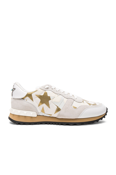 Valentino Canvas & Suede Sneakers in White, Metallics, Geometric Print, Abstract