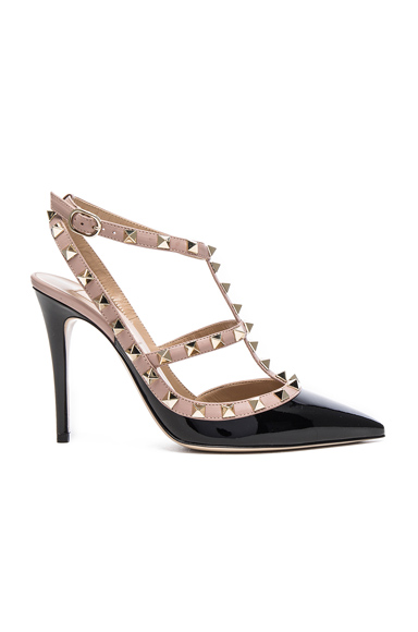 Valentino Rockstud Patent Leather Ankle Strap Heels in Black