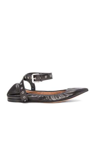 Valentino Ankle Strap Leather Ballerina Flats in Black