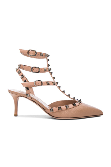 Valentino Rockstud Leather Ankle Strap Heels in Neutrals