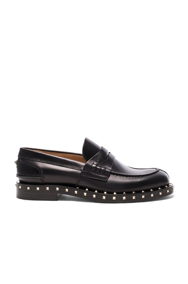 Valentino Soul Stud Leather Loafers in Black
