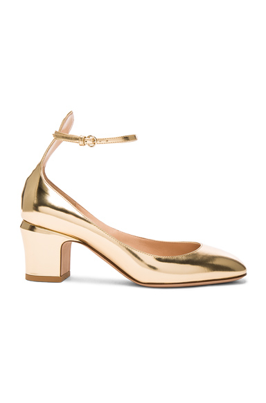 Valentino Leather Tan-Go Pumps in Metallics