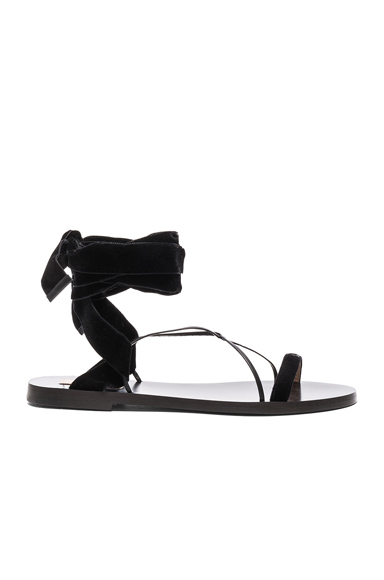 Valentino Flat Velour Ankle Tie Sandals in Black