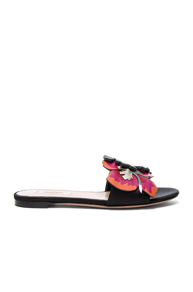 Valentino Leather Tropical Dream Slides in Floral, Black