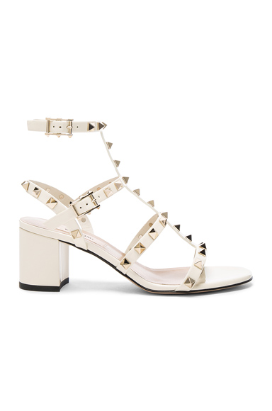 Valentino Patent Leather Rockstud Sandals in White