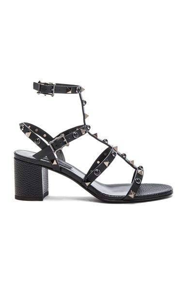 Valentino Leather Rockstud Sandals in Black