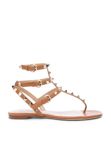 Valentino Leather Rockstud Gladiator Sandals in Neutrals