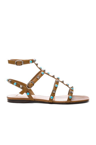 Valentino Leather Rockstud Sandals in Brown, Neutrals
