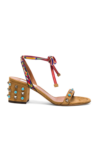 Valentino Suede Rockstud Sandals in Brown