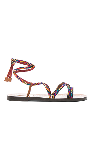 Valentino Embroidered Santeria Sandals in Abstract, Neutrals