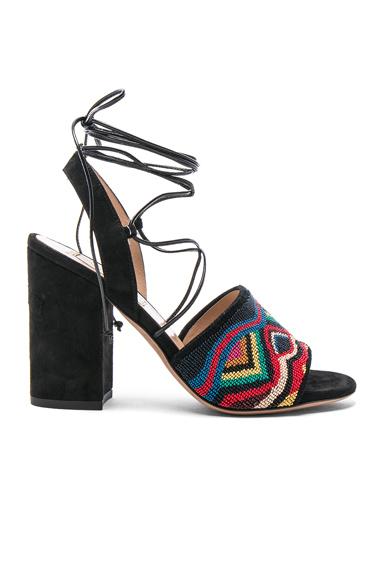 Valentino Suede Nuevitas Sandals in Black