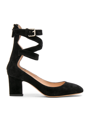 Valentino Suede Ankle Strap Heels in Black