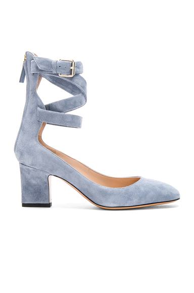 Valentino Suede Ankle Strap Heels in Blue