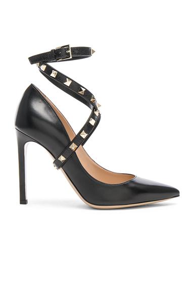 Valentino Leather Rockstud Strap Heels in Black