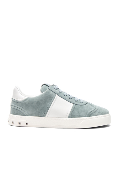 Valentino Suede Fly Crew Sneakers in Blue