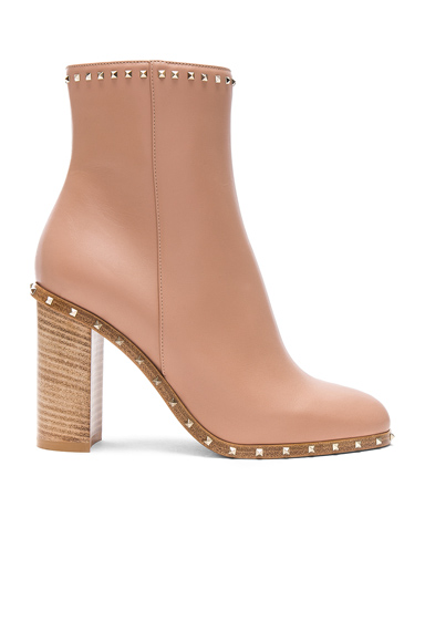Valentino Rockstud Trim Leather Booties in Neutrals