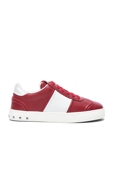 Valentino Leather Fly Crew Sneakers in Red