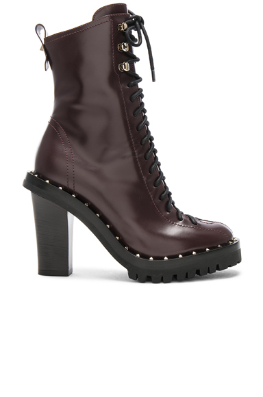Valentino Leather Soul Rockstud Boots in Purple