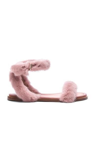 Valentino Mink Fur Sandals in Pink