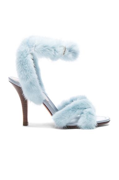 Valentino Mink Fur Ankle Strap Heels in Blue