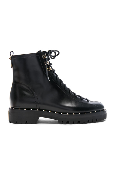 Valentino Leather Soul Rockstud Combat Boots in Black