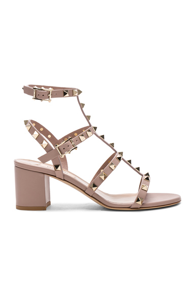 Valentino Leather Rockstud Sandals in Nude