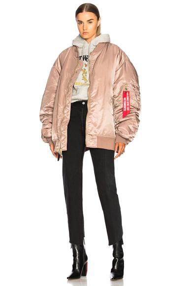 VETEMENTS Reversible Bomber Jacket in Neutrals, Pink