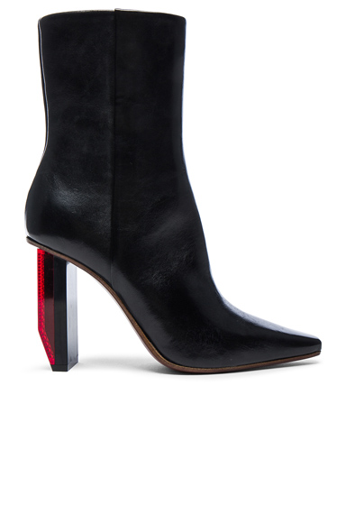 VETEMENTS Reflector Leather Ankle Boots in Black