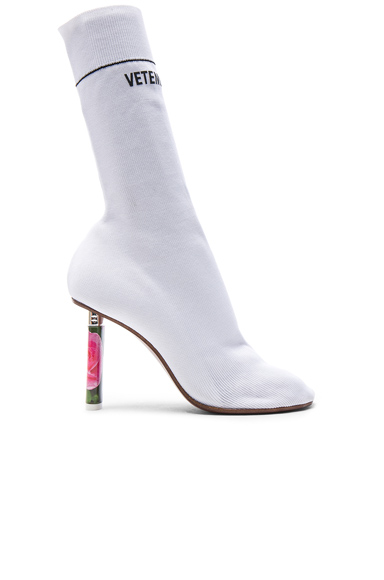 VETEMENTS Sock Ankle Boots in White, Floral