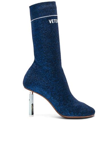 VETEMENTS Lurex Sock Ankle Boots in Blue, Metallics