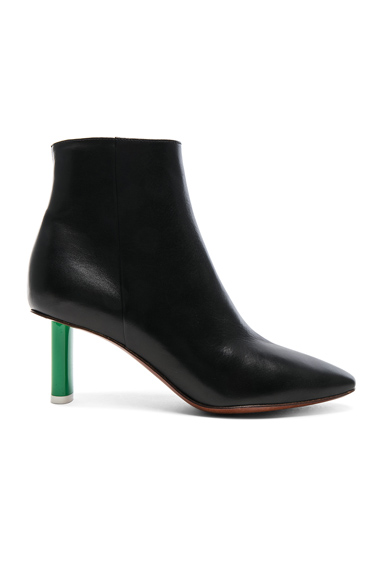 VETEMENTS Lighter Heel Leather Ankle Boots in Black