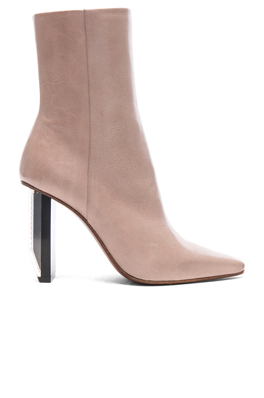 VETEMENTS Reflector Heel Leather Ankle Boots in Neutrals