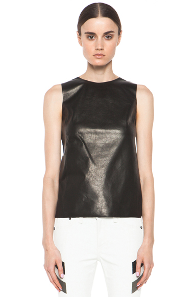VINCE | Sheer Back Leather Shell in Black